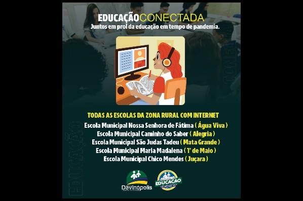 Prefeitura de Davinópolis instala internet nas escolas da zona rural