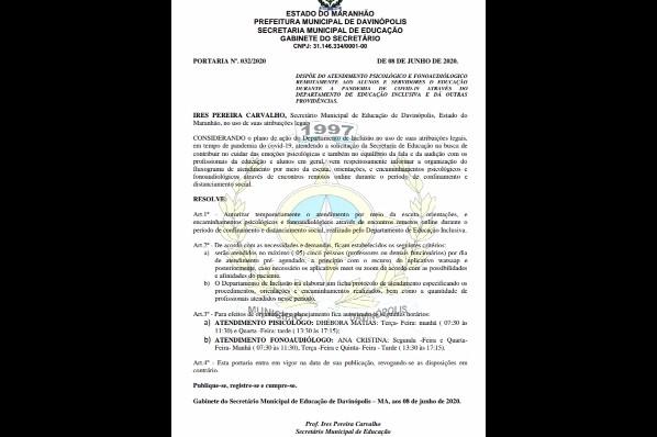.Semed: Departamento de Inclusão realiza atendimentos remotos em Davinópolis