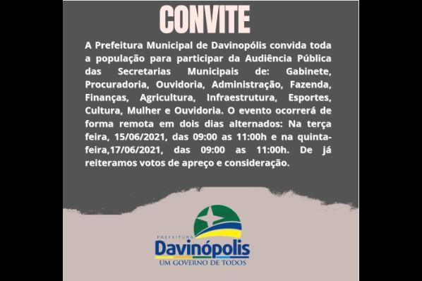 Prefeitura de Davinópolis realizará audiência  pública para elaboração do PPA 2022 a 2025